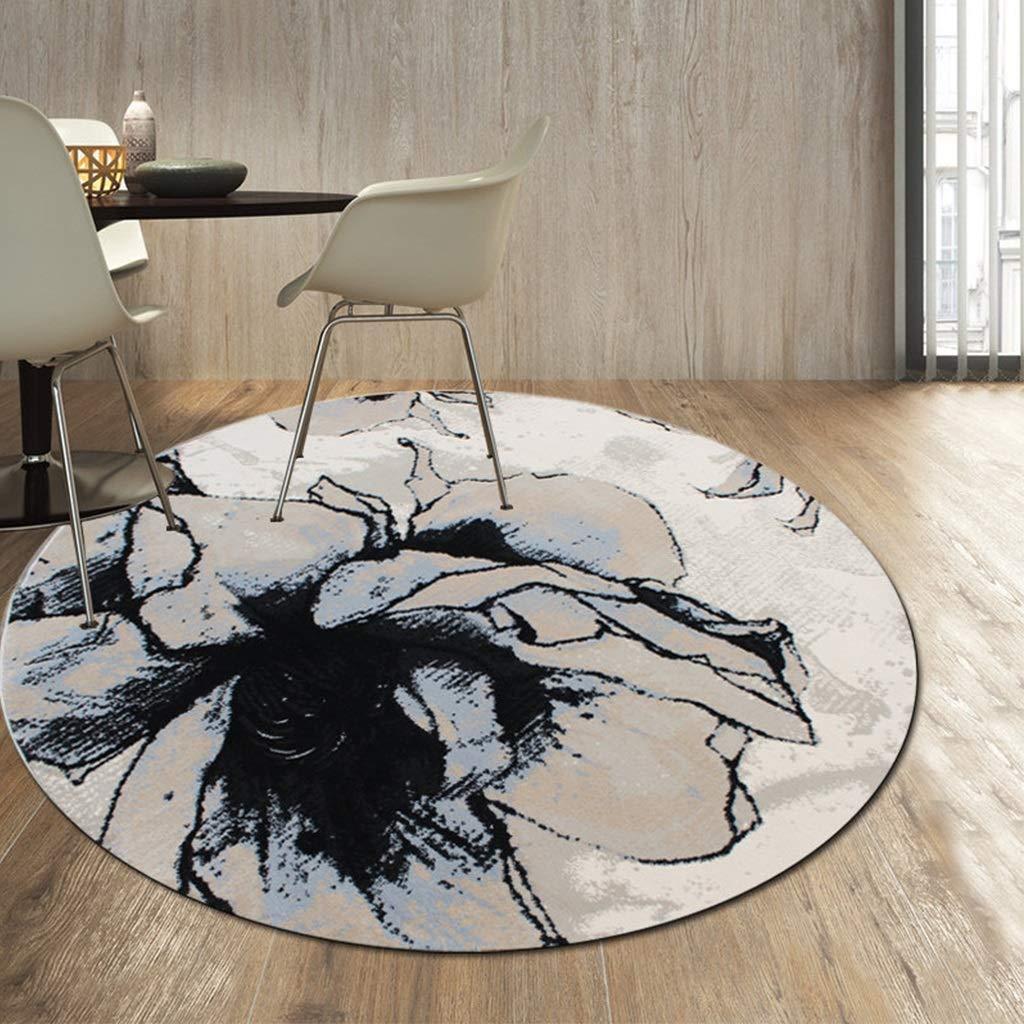 LUYIASI- Tapis rond moderne Encre Abstraite Art Design Salon Zone Tapis Chaise Tapis Couverture de chevet 15 MM Épaisseur Non-slip mat (Couleur : E-Diameter 160cm)