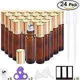 Essential Oil Roller Bottles 10ml ( Amber Glass Bottle, 24 pack, 6 Extra Roller Balls,48 Labels, 2 Openers, 2 Funnels by PrettyCare ) Roller Balls For Essential Oils, Roll on Bottles