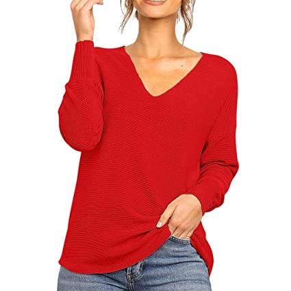 Wave166┃Suéter de Mujer, Women Sweater V-Cuello de la Mujer de ...