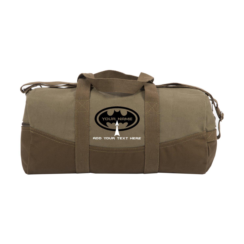 "Personalized Custom Batman Two Tone 19"" Duffel Bag with Brown Bottom, Black"