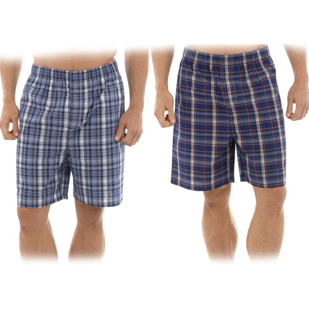 2 Pack Mens Check Pyamas Woven Lounge Shorts HT345