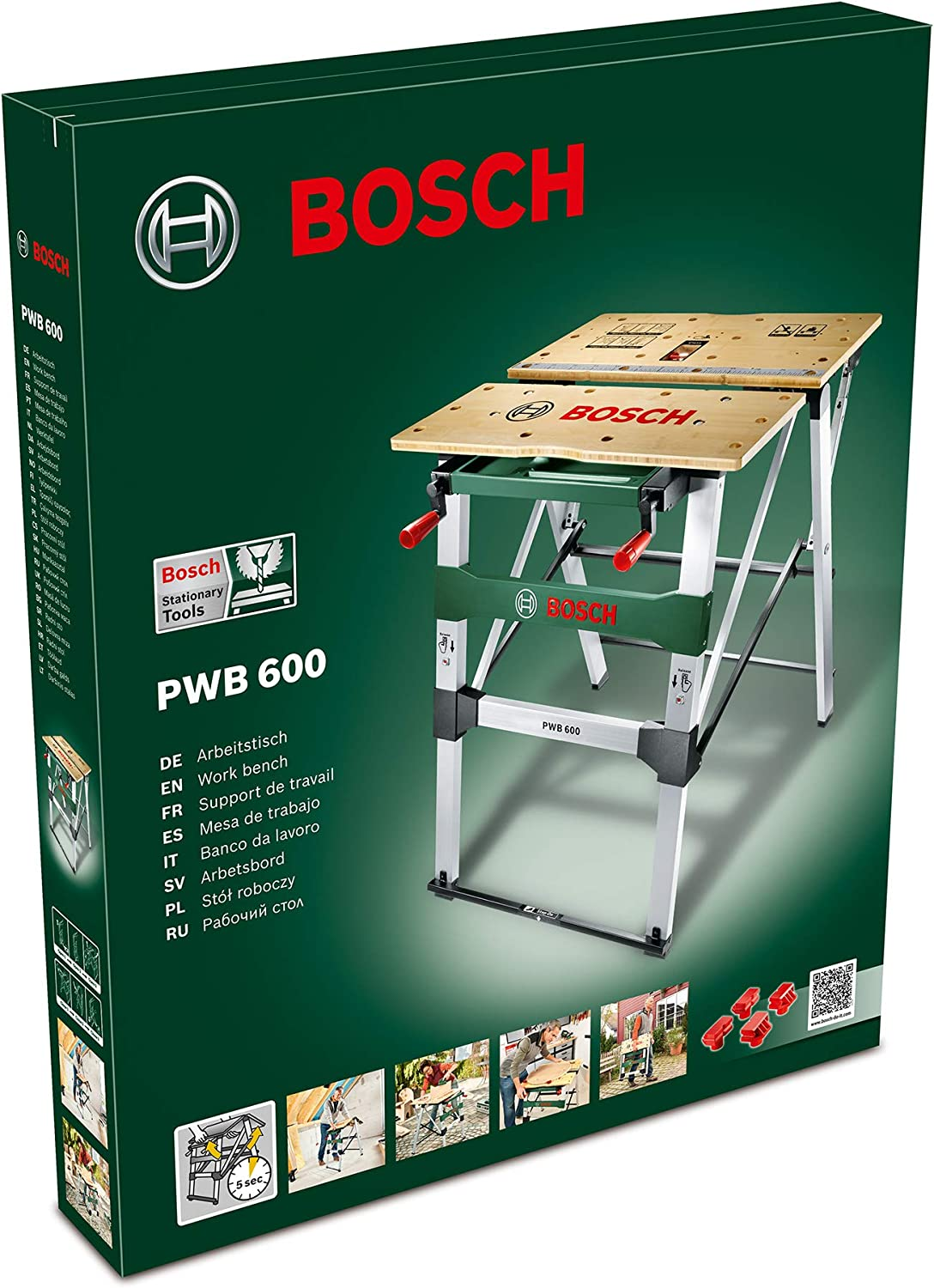 Bosch Work Bench Pwb 600 4 Blade Clamps Cardboard Box Max Load Capacity 200 Kg Amazon Com
