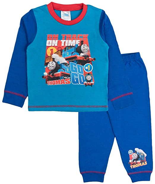 Pijama oficial para niños de Thomas y sus amigos, de dos piezas, camiseta de manga larga y pantalón largo, tallas 1 – 4 años Azul On Track On Time 4-5 Años: ...