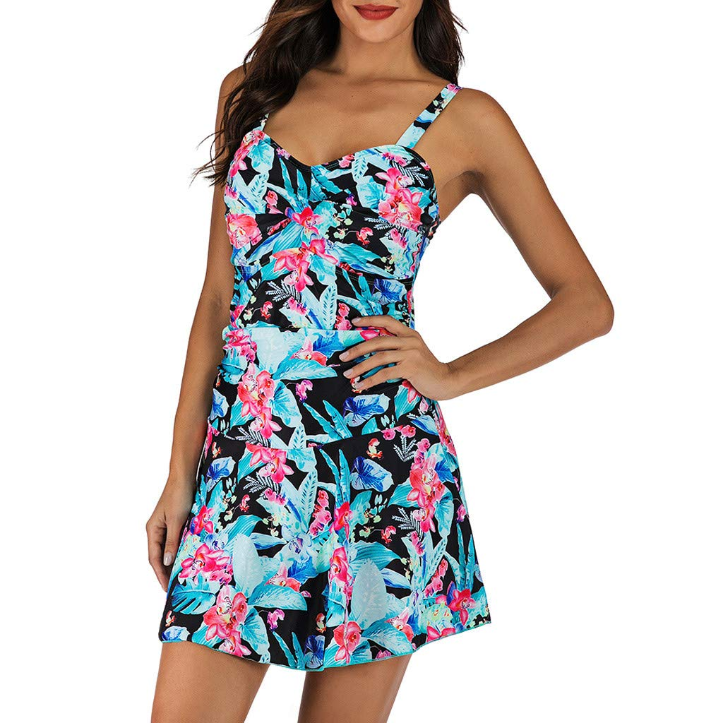 Peize Womens Printed Tankini Top with Triangle Briefs Swimsuit Tummy Control Swimsuit Padded Two Piece Bathing Suits Blue
