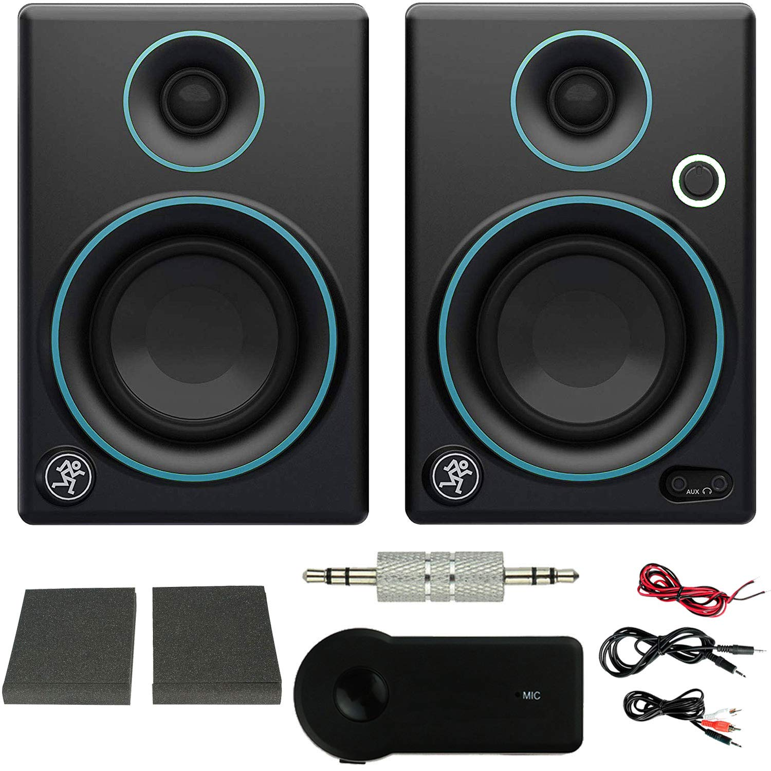 Mackie CR Series CR3 3'' Creative Reference Multimedia Monitors (Pair) Blue + Xtreme Bluetooth 2-in-1 Wireless Audio Receiver (Exclusive Color) (Blue Trim)