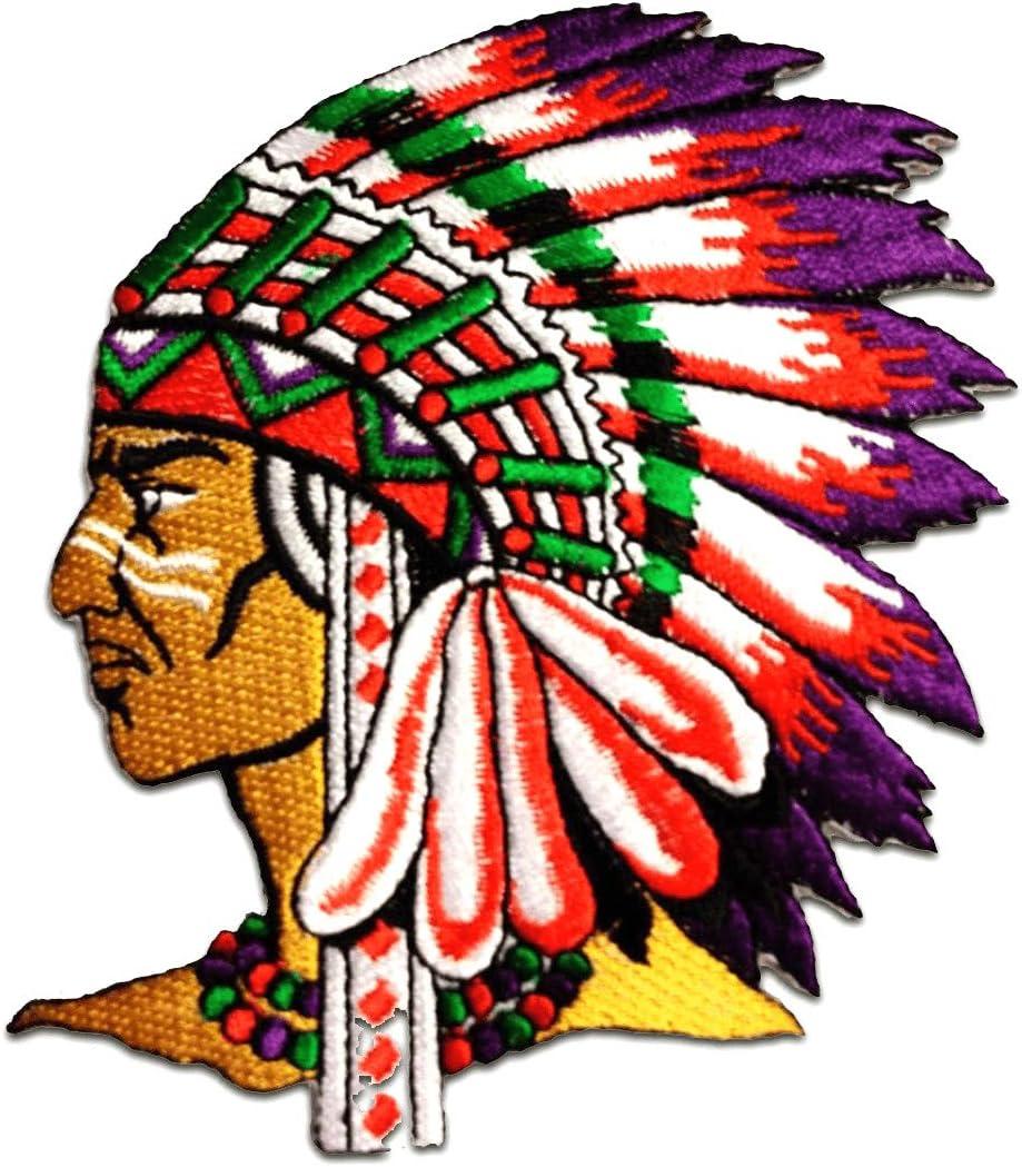 Parches - indio jefe de tribu - colorido - 7,5x6,3cm - termoadhesivos bordados aplique para ropa: Amazon.es: Hogar