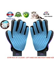 Q7S Pet Grooming Glove, Pet Deshedding Tool Brush Glove, Pet Grooming Glove for Dogs, Cats, Horse, Pet Hair Remover Brush & Massage Gloves, Perfect for Any Pets (Light Blue+Purple Color)