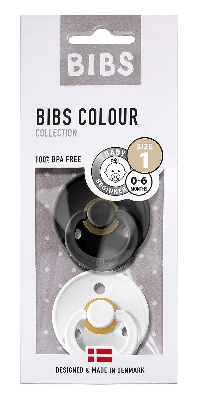 2 unidades Chupete de caucho natural con forma de cerezo negro negro BIBS blanco Talla:Gr/ö/ße: 1 0-6 Monate