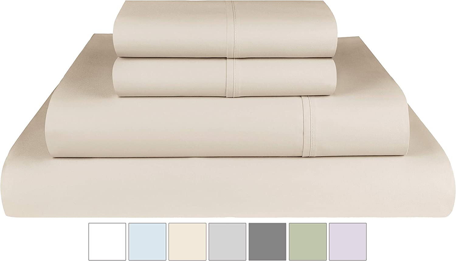 Threadmill Home Linen 400 Thread Count 100% Extra-Long Staple Cotton Sheets, Full Sheets, Luxury Bedding, Full Sheets 4 Piece Set,Smooth Sateen,Beige