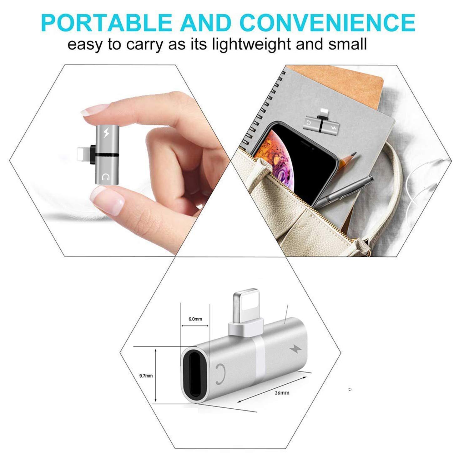 Compatibilidad con el convertidor de Accesorios para Auriculares Mini para Todos los Dispositivos iOS Adaptador de Auriculares para iPhoneX//XS//XR//8//8Plus//7Plus//7 Control de Volumen de Audio