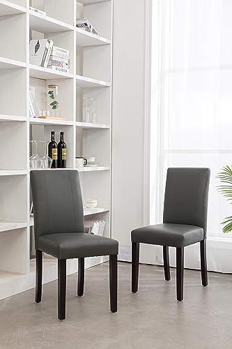 GTU Furniture Set of 2 Pu-Leather Elegant Modern Dining Kitchen Chairs Grey