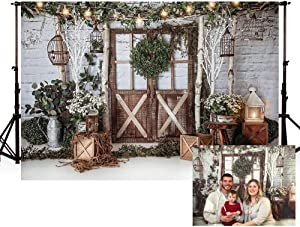 MEHOFOTO 7x5ft Winter Christmas Dinner Party Photography Background Rustic Brown Wood Wall Door Glitter String Lights Birdcage Xmas Backdrops Family Holiday Birthday Party Photo Props Banner Supplies