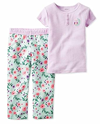 40413dcb64 Carters Girls 2 Piece Cozy Soft Flannel Pajamas Shirt and Pant Sleepwear  Set (6