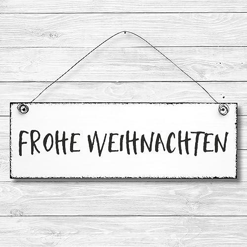 Frohe Weihnachten Freundin.Frohe Weihnachten Dekoschild Türschild Wandschild Aus Holz 10x30cm