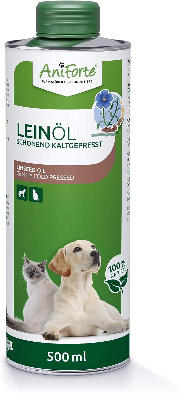 AniForte Aceite de Linaza para perros, gatos y caballos 500 ml - prensado en frío, rico en ácidos grasos omega 3 y omega 6, aceite de alimentación de alta calidad en envases reciclables