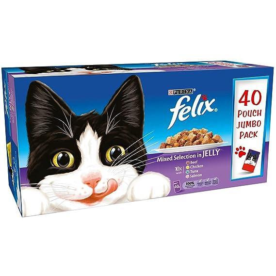 Purina Felix - Comida para gatos en mojado de gelatina (40 x 100 g, paquete grande): Amazon.es: Productos para mascotas