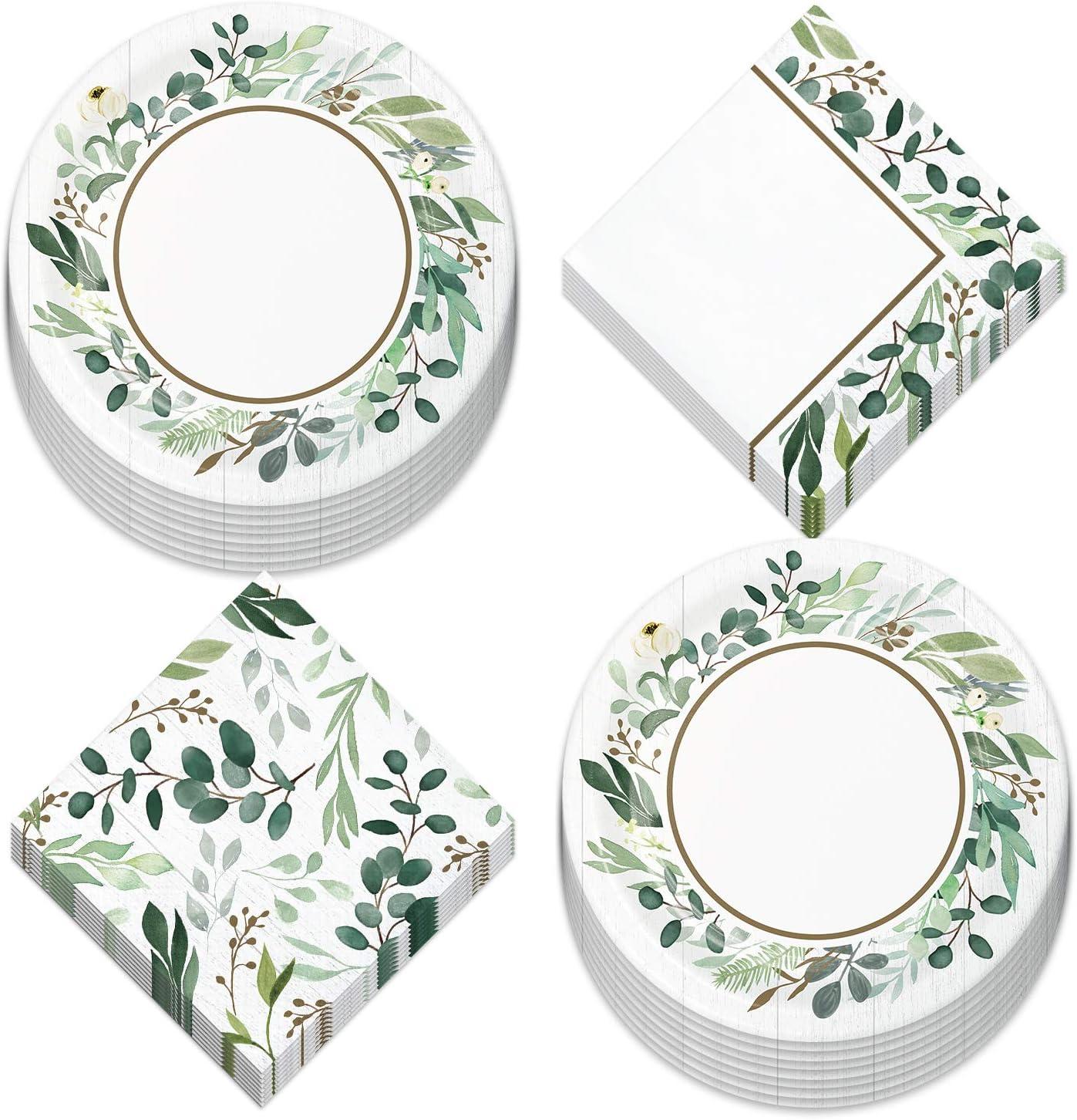 Eucalyptus Greens Garden of Love Bridal Party Supplies - Paper Dessert Plates and Beverage Napkins (Serves 16)