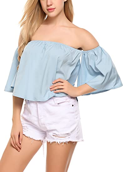 e33ad2560c0734 Amazon.com: Zeagoo Off Shoulder Top Casual Short Sleeve Shirt Cute ...