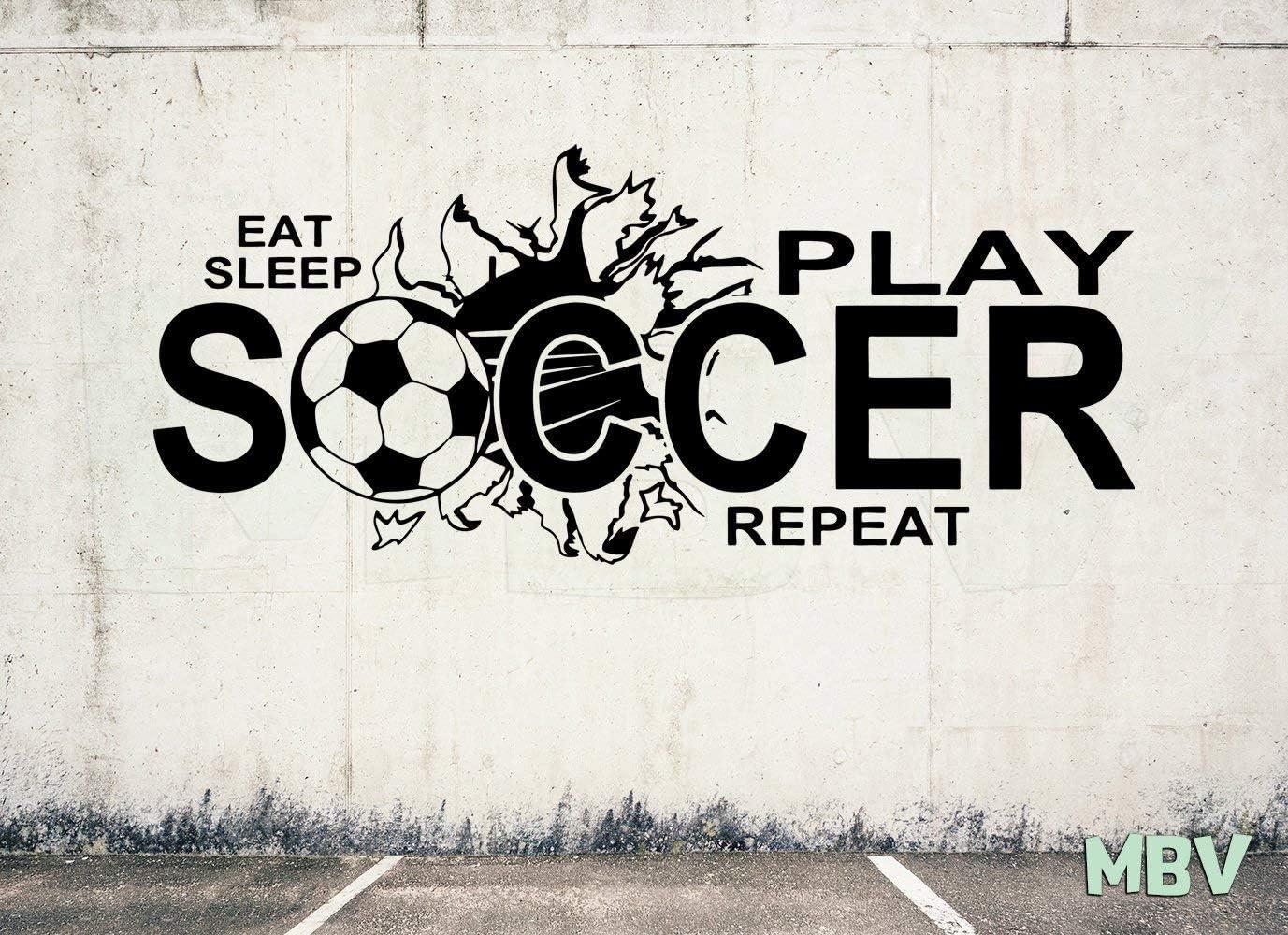Sleep Teens Play Soccer Childrens Wall Vinyl Eat