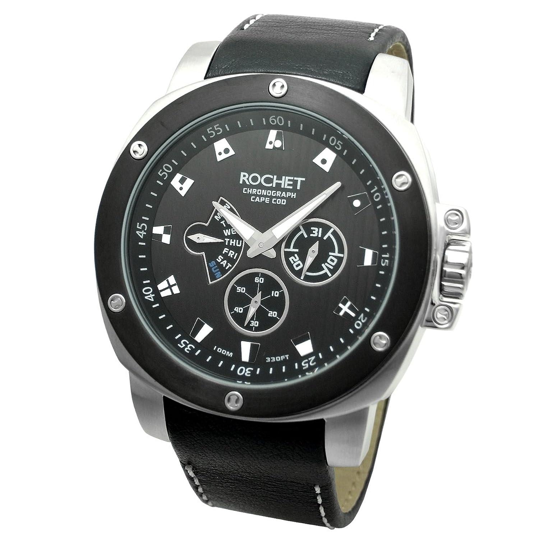 [ロシェ]ROCHET 腕時計 NAUTIC スモールセコンド デイデイトカレンダー レザーバンド ブラック W306015 メンズ 【正規輸入品】 B007PMSMQU