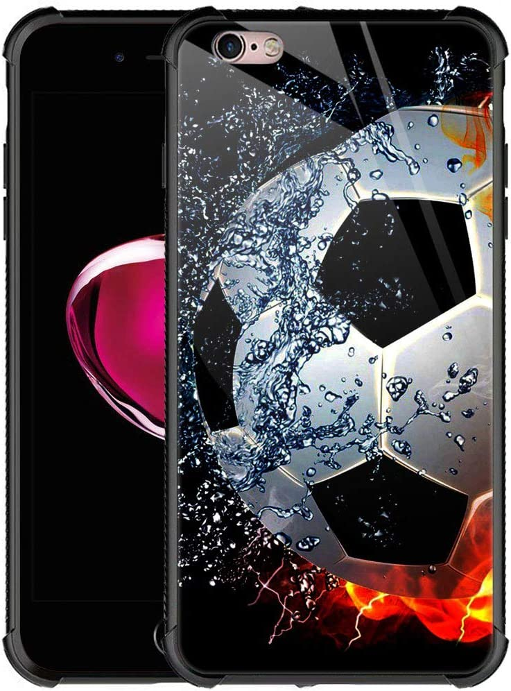 iPhone 6S Plus Case,9H Tempered Glass iPhone 6 Plus Cases for Girls Women Boys,Sizzling Soccer Case Mate Pattern Design Shockproof Anti-Scratch Case for Apple iPhone 6/6s Plus 5.5-inch