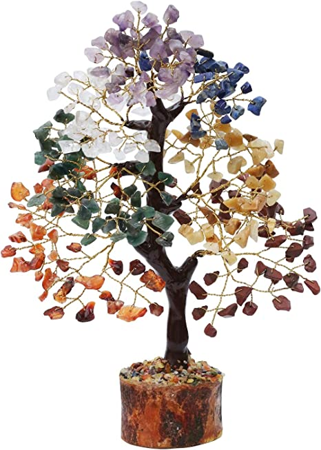 Zaicus Seven Chakra Gemstone Tree with 7 Tumble Stones Car Hanging Ornaments for Crystal Healing Good Luck Feng Shui Bonsai Money Tree Aura Cleansing Tumbled Palm Stones Enhance Home Office D/écor