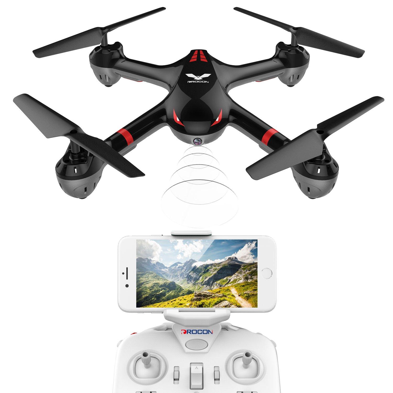 DROCON – Cyclone X708 / 708W Primo Drone della Serie per Principianti – Quadrirotore Equipaggiato con Acrobazie 3D, Headless Mode, Ritorno con un Solo Tasto, Facile da Pilotare (X708W Versione Video dal Vivo)
