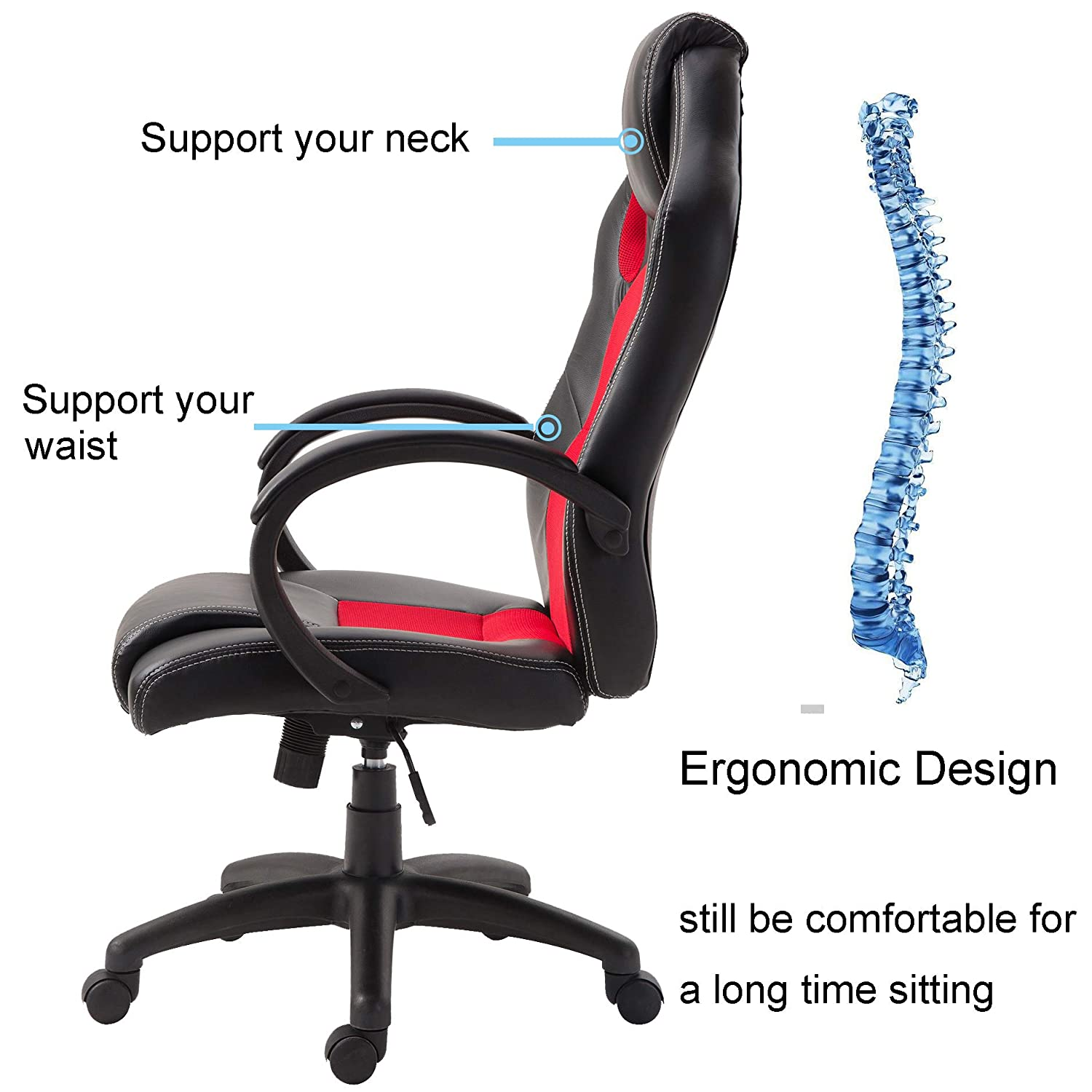 Windaze Gaming Computer Chairs Ergonomic Swivel Leather High Back Office Desk Chair Racing Style with Headrest Black and Red