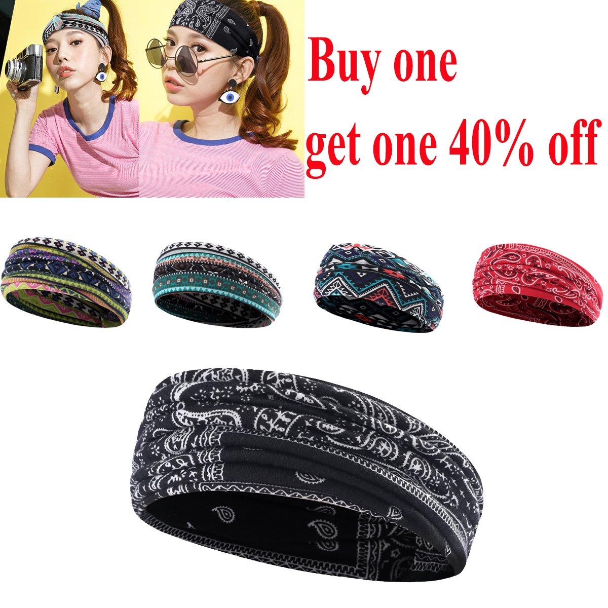 b400bd0f5e87 Non-Slip Classical Women Headband UHEREBUY Moisture Wicking Head Wrap Multi- Style Adjust Yoga Stretchy Workout Sweatband Headband Hair Band Turban  Headband