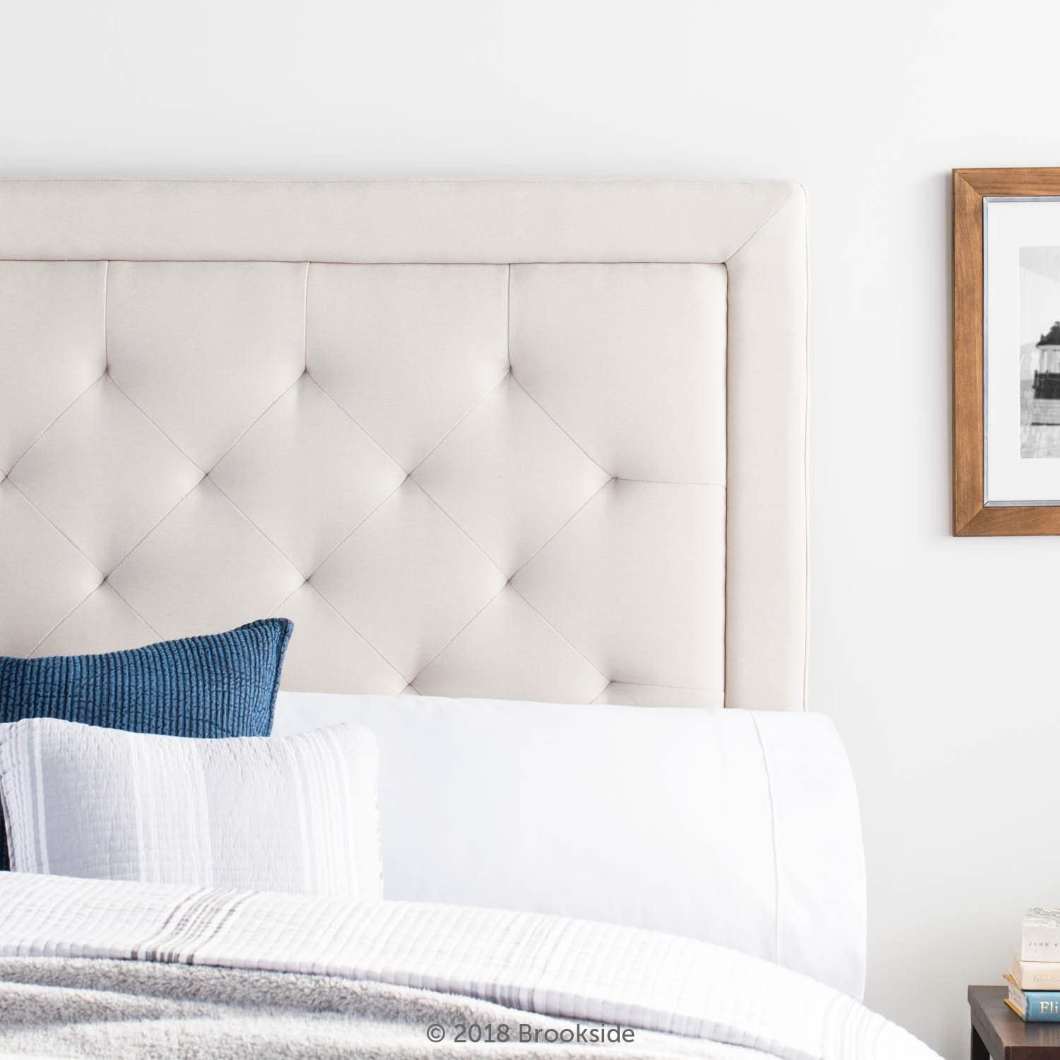 Brookside Upholstered Headboard with Diamond Tufting – Queen – Cream