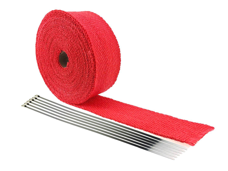 IZTOSS 2/25' x 2' x 32.8' Red Fiberglass Exhaust Heat Wrap Heat Shield Sleeve with 6 Stainless Steel(304) Zip Ties