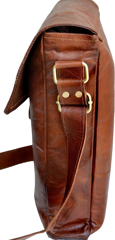 Jaald 33 Cm Bolso Bandolera Laptop Bag Bolsa De Hombro Cuerpo Cruzado Grande para Mensajero Mensajeria De Cuero Piel Marron Portatil Notebook Bag College Office Hombre Y Mujer Leather Messenger Bag