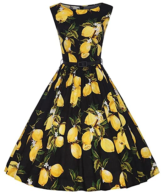 357486f19c Vintage Palace Women s Sleeveless Wide Boat Neck A Line Lemon Pattern Dress  with Belt at Amazon Women s Clothing store