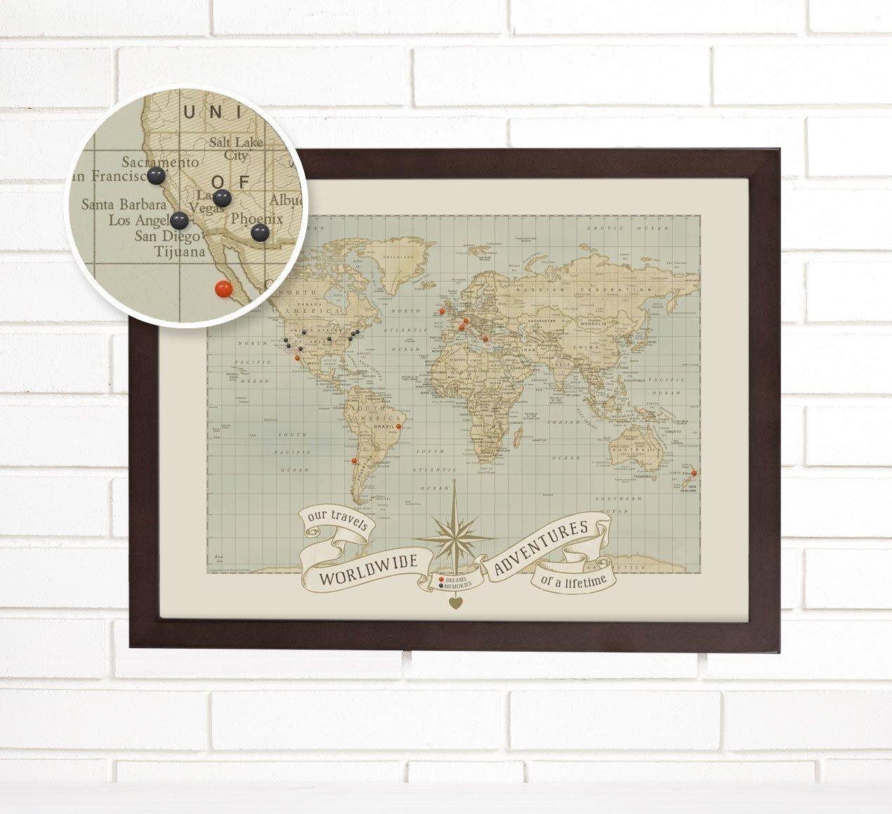 World Push Pin Travel Map Art, Dreams and Memories