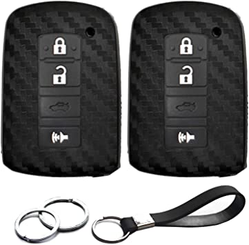 2Pcs Silicone Smart Key Fob Remote Cover Case for 2016 2017 Toyota Tacoma Land Cruise Prius V RAV4 3buttons Key Accessories Black Bag