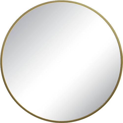 Modern Style Round Shape Mirror Metal Frame Brass Finish dia 28