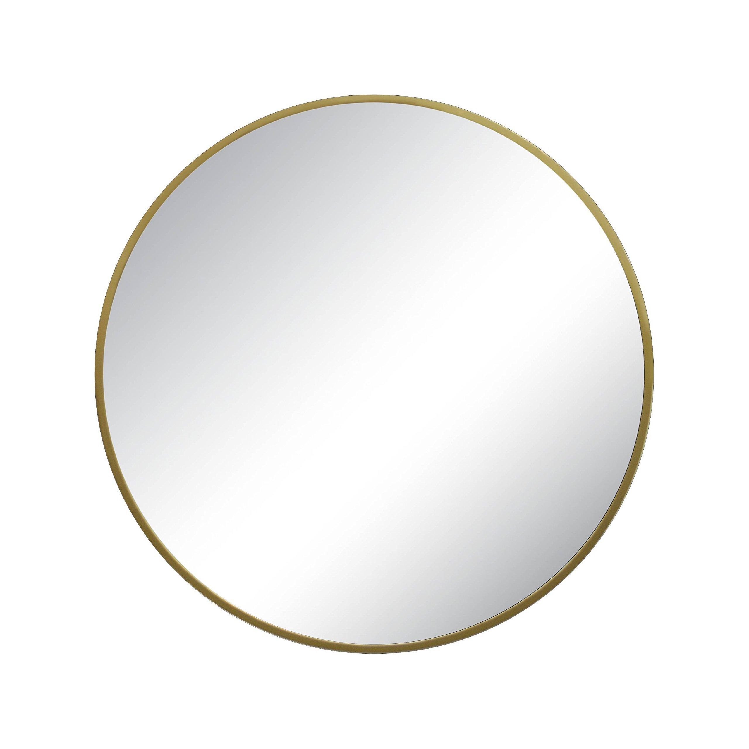 Modern Style Round Shape Mirror Metal Frame Brass Finish dia 28''