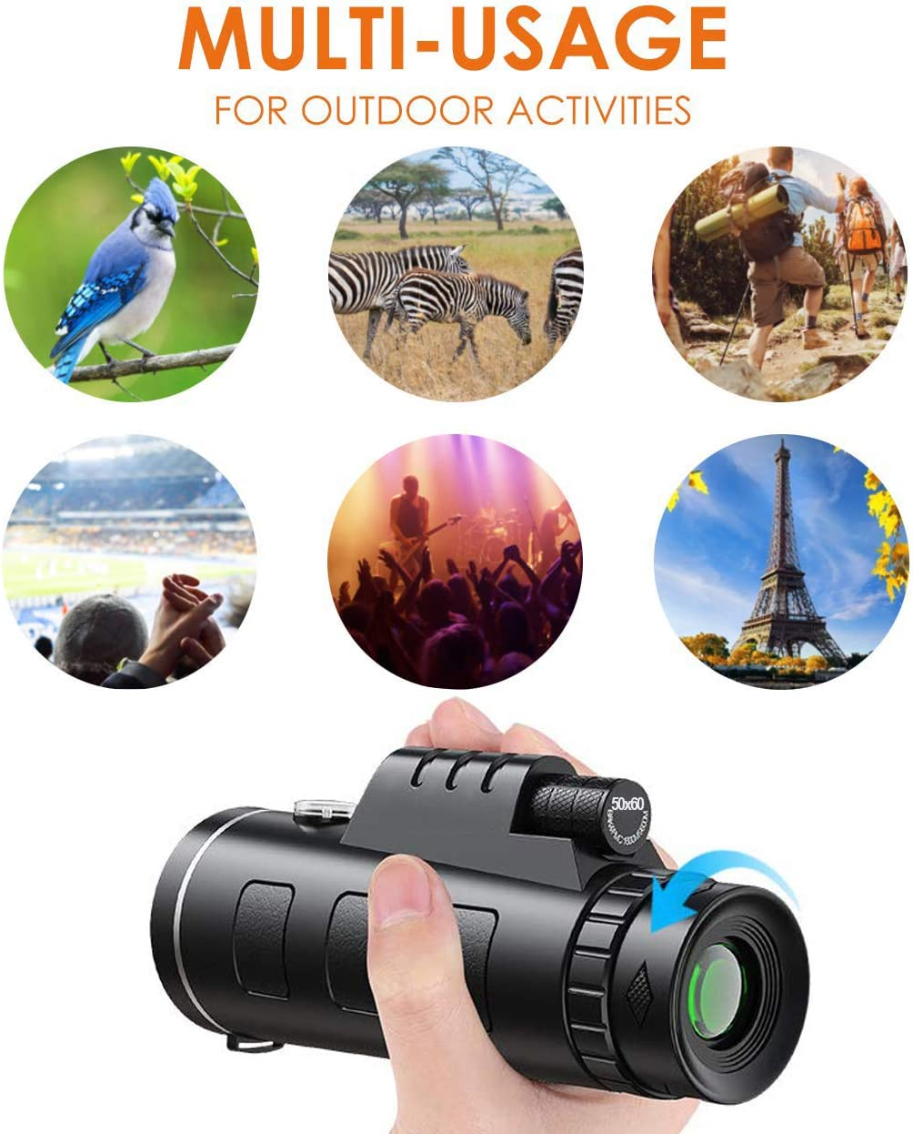 Travelling Monocular Telescope 50x60 High Power HD Monocular with Smartphone Holder Tripod for Adults Waterproof Night Vision with Durable and Clear Prism Dual Focus for Bird Watching Camping