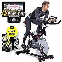 Sportstech Profi Indoor Cycle SX400 mit Smartphone App, 22KG Schwungrad, Armauflage, Pulsgurt kompatibel-Speedbike mit Riemenantrieb-Fahrrad Ergometer bis 150Kg, inkl. gratis eBook