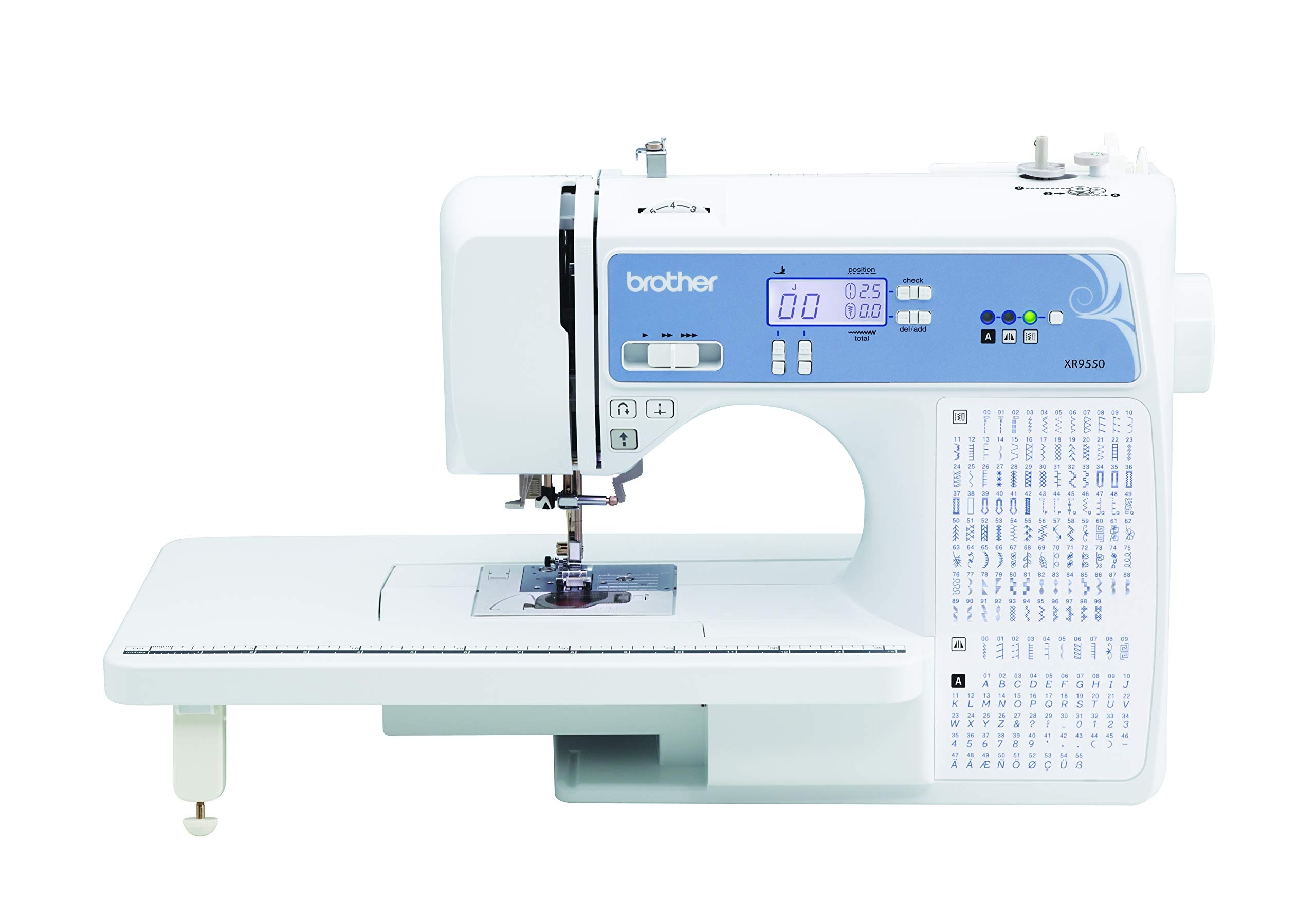 Brother XR9550 Sewing and Quilting Machine, Computerized, 165 Built-in Stitches, LCD Display, Wide Table, 8 Included Presser Feet, White
