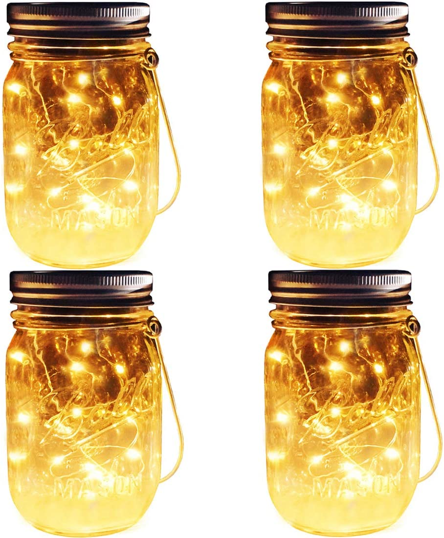 Solar Mason Jar Lights, 4 Pack 30 Leds Waterproof Fairy Firefly String Lights Build-in Glass Mason Jar, Best Patio Garden Decor Solar Hanging Lanterns Outdoor Warm White (4 Pack-Mason Jars Included)