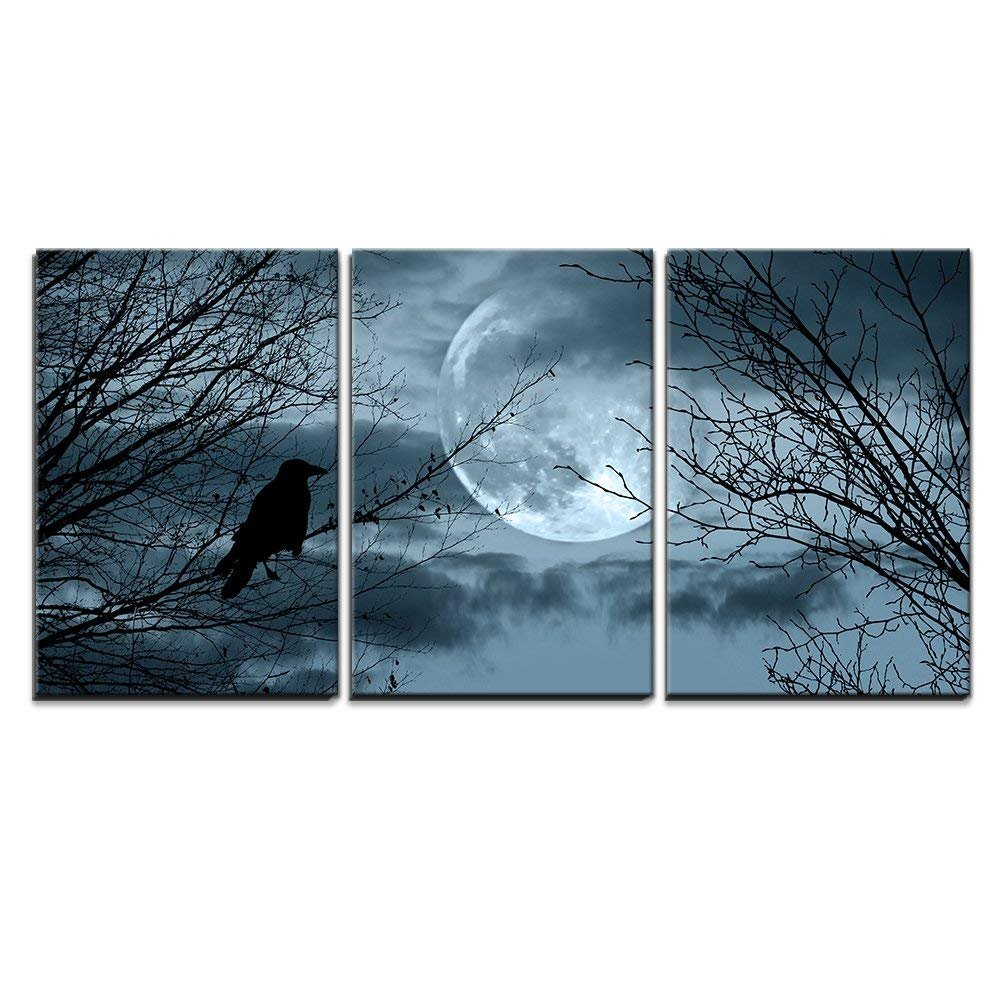 wall26 - Full Moon Halloween Background - Canvas Art Wall Decor-16 x24 x3 Panels