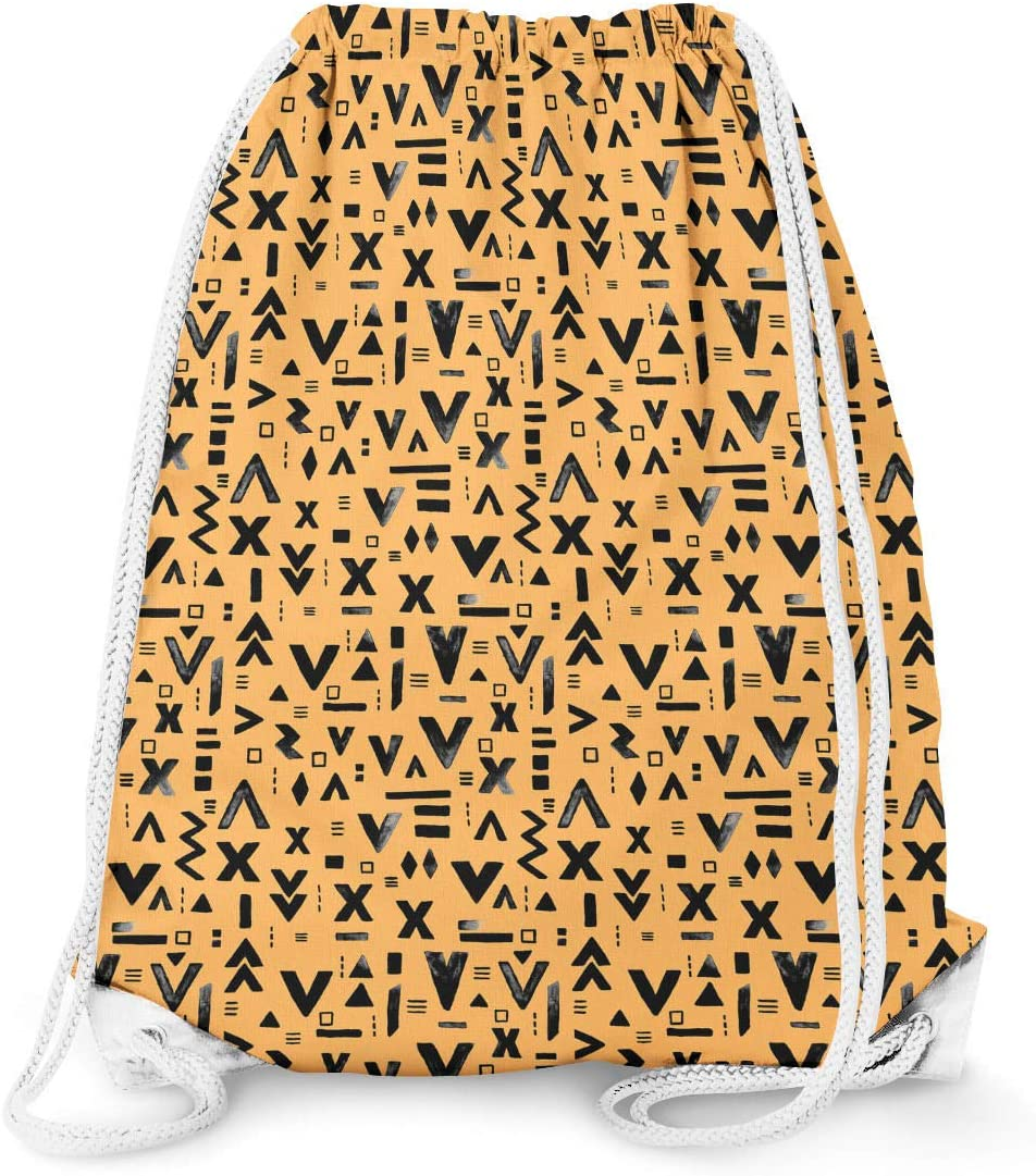 Inked Geometric Symbols White 13.3 x 17.3 - Drawstring Bag Large