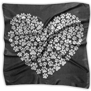 Xukmefat Pañuelo cuadrado Hipster Perro Paw Print Love Heart ...