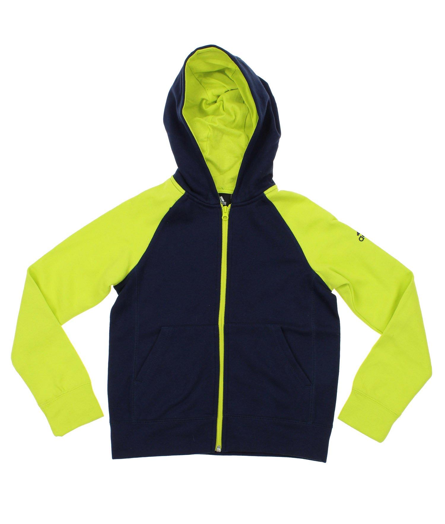 adidas Youth Boy's Full-Zip Contrast Sleeve Hoodie, Navy/Lime