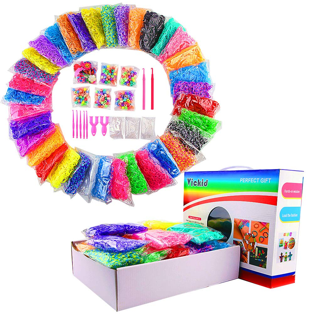 Rubber Loom Bands, 18800+ Mega Rainbow Rubber Bands Refill Kit for Kids Girl Jewelry Bracelet Weaving DIY Crafting in 35 Colors, 500 Slips, 300 Beads, 30 Charms, 5 Small Crochets, 2 Big Crochets