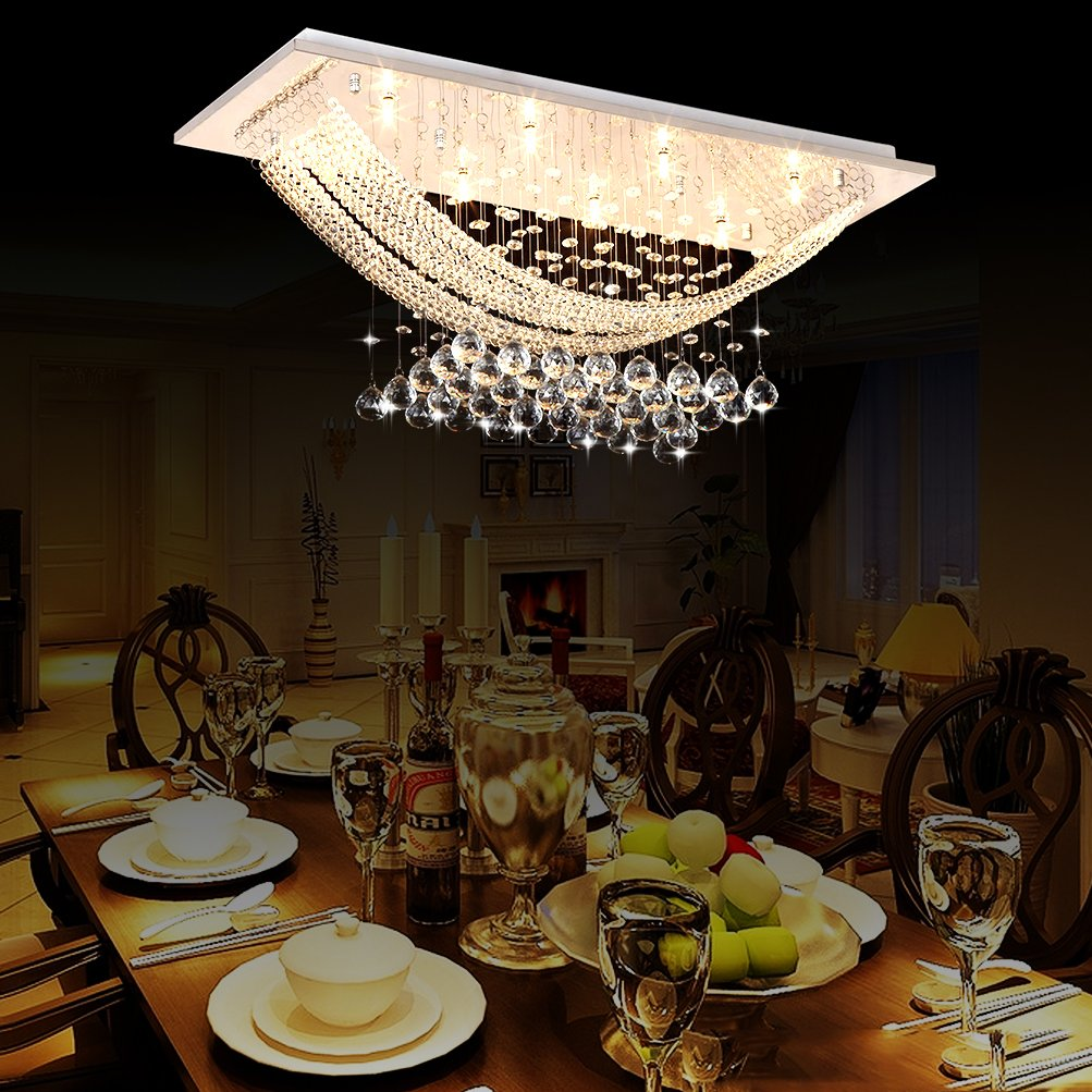 Luxuriant Crystal Flush Mount Light with 8 Lights Ceiling Light ...