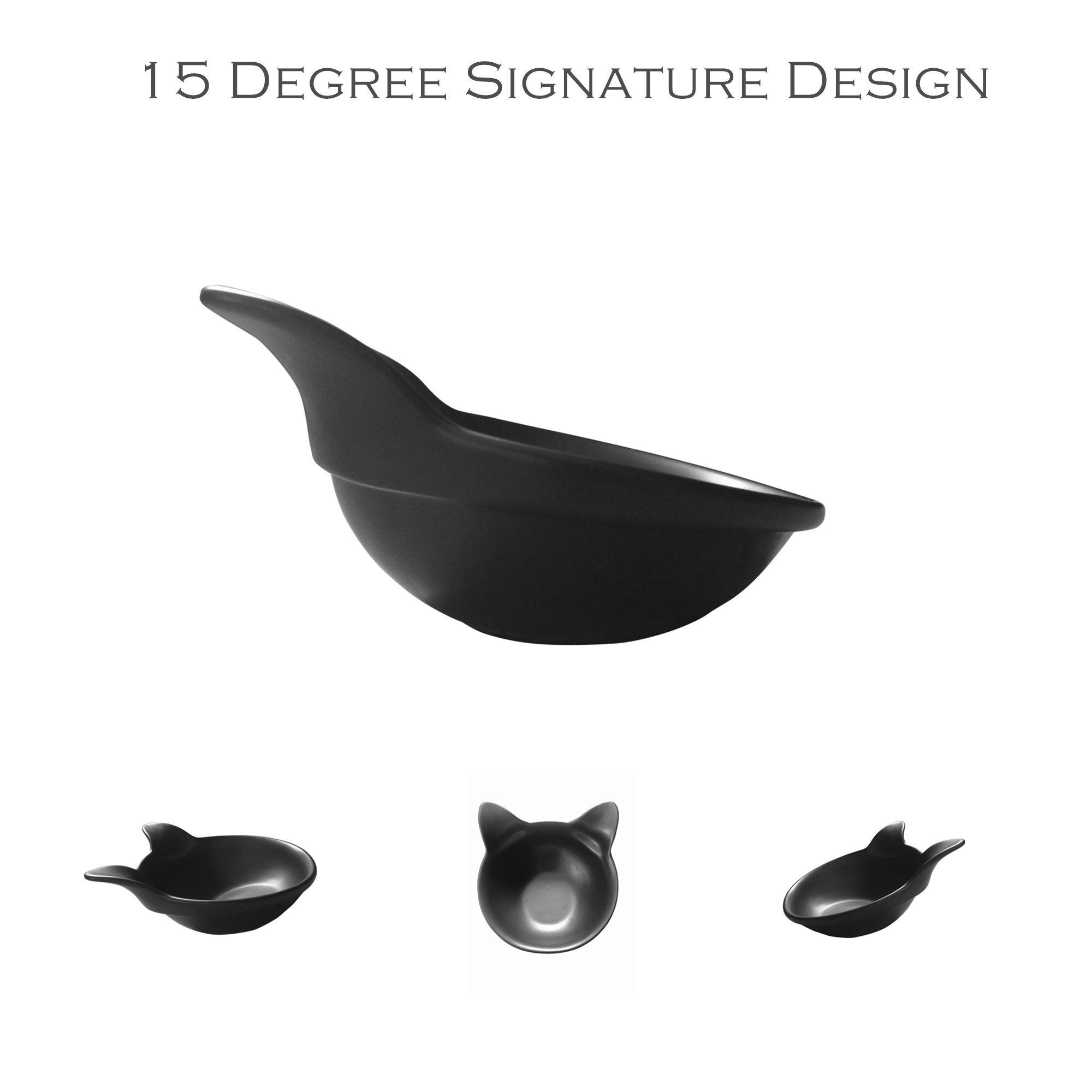 ViviPet 2 Ceramic Kitty Cat Bowls, Pearl Black