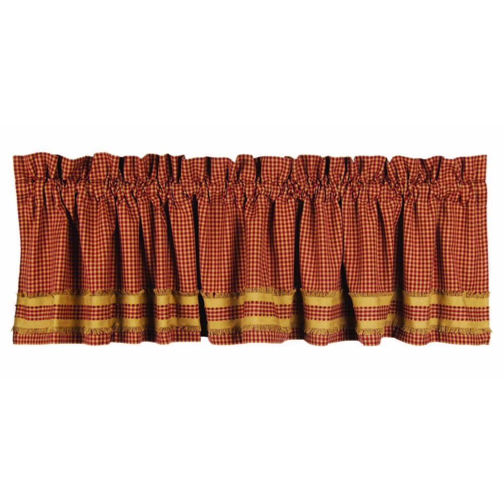 Home Collection by Raghu Newbury Gingham Red with Oat Trim Barn Red and Oat Valance, 72 by 15.5 72 by 15.5 VLAR0016