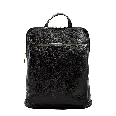 eea24bef0b7a2 Rucksack Und Schultertasche Aus Echtem Leder Farbe Schwarz - Italienische  Lederwaren - Rucksack